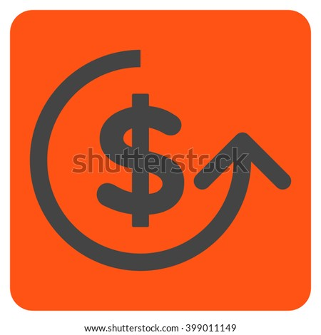 Chargeback vector icon symbol. Image style is bicolor flat chargeback icon symbol drawn on a rounded square with orange and gray colors. - stock vector