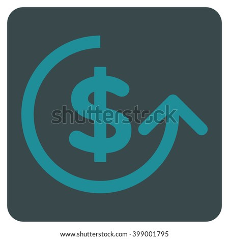 Chargeback vector icon symbol. Image style is bicolor flat chargeback iconic symbol drawn on a rounded square with soft blue colors. - stock vector