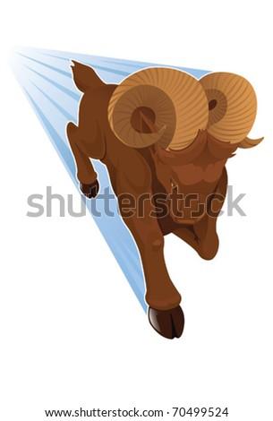Charging Bighorn Sheep - vector - stock vector