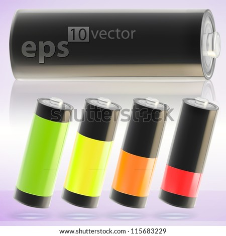 Charging copyspace battery vector eps10 illustration, cute, empty and glossy - stock vector