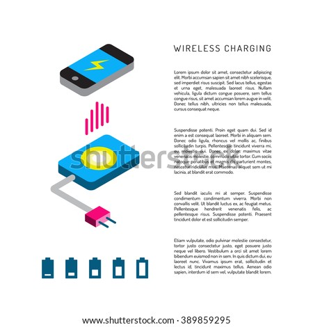 Charging mobile phones. Wireless charging phones outline. Wireless battery charge. Charging smart phones - stock vector