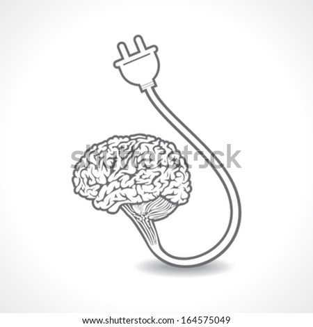 Charging of a brain concept stock vector - stock vector
