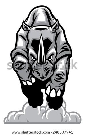 charging rhino - stock vector