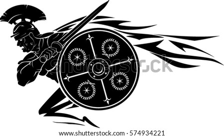 Charging Roman Soldier Round Shield Stock Vector Hd Royalty Free