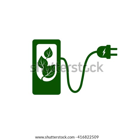 Charging station for electric car, bio fuel, eco-friendly vehicle Vector Illustration. Charging station for electric car sign. Charging station for electric car symbol. Charging station with plug. - stock vector