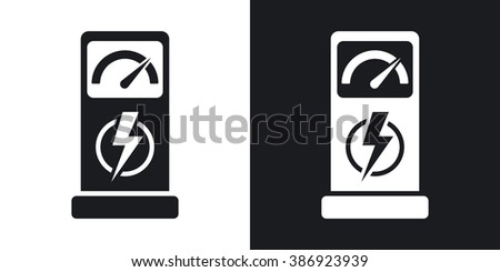 Charging station for electric car, vector icon. Two-tone version on black and white background - stock vector