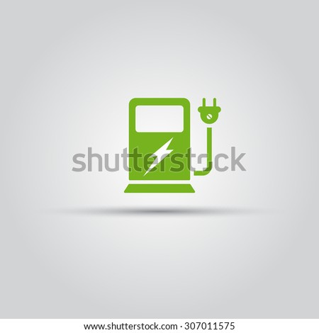 Charging station for electric vehicles isolated vector green icon - stock vector