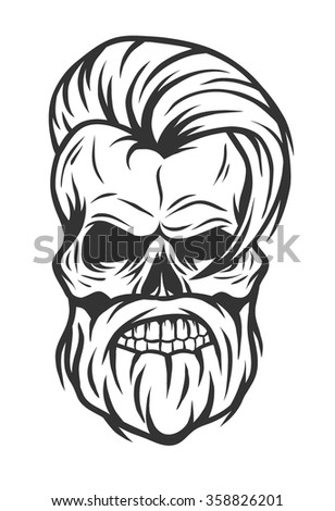 Charismatic skull hipster. Vintage style. - stock vector