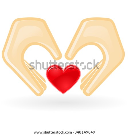 Charity and custody concept - hands with heart - stock vector