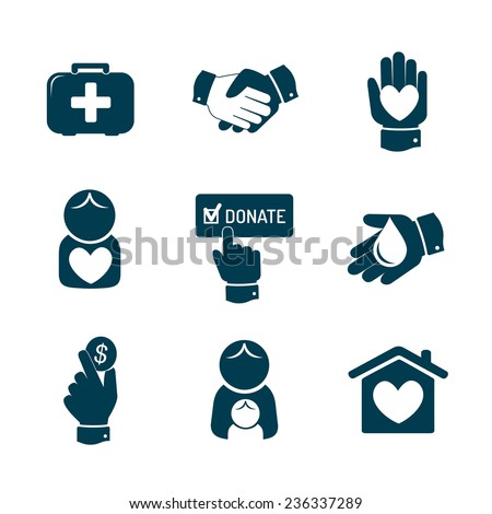 Charity and donation icons set - stock vector