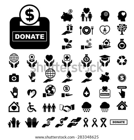 Charity and donation icons set. - stock vector