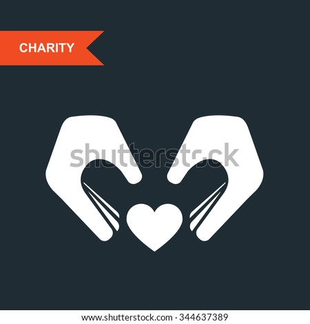 Charity and guardianship concept - hands with heart - stock vector
