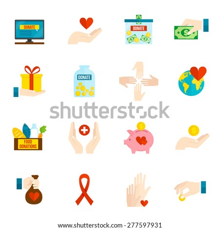 Charity and relief volunteer assistance icons flat set isolated vector illustration - stock vector