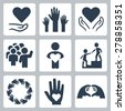 Charity and volunteer icon set - stock vector