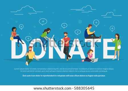 Charity donation funding concept illustration of young men and women using devices such as laptop, smartphone, tablets to donate money and goods. Flat people with gadgets sitting on the bid letters