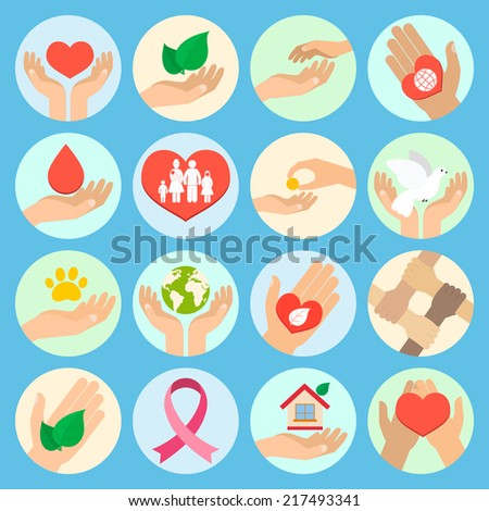 Charity donation social services and volunteer icons set with hands isolated vector illustration - stock vector