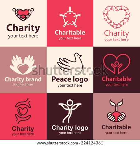 Charity flat icons set logo ideas for brand - stock vector