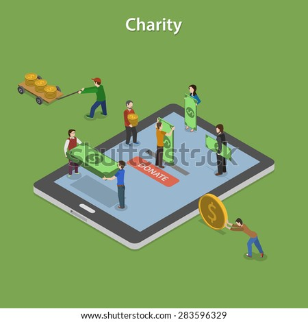 Charity Flat Isometric Vector Concept. People on Smartphone or Tablet Make Online Donation. - stock vector