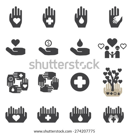 Charity icons set, vector - stock vector