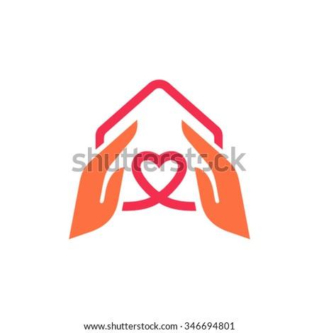Charity logo design template - stock vector