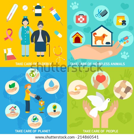 Charity social help services and volunteer work icons set flat isolated vector illustration - stock vector