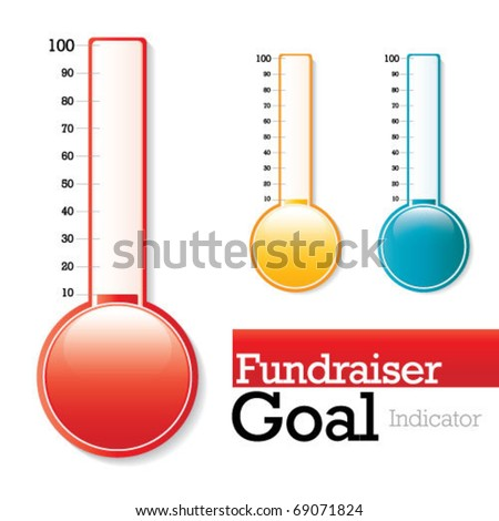 Charity Thermometer - use to show your fundraiser progress and goal - stock vector