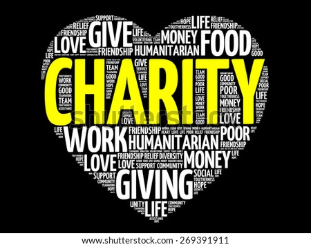 Charity word cloud heart concept - stock vector