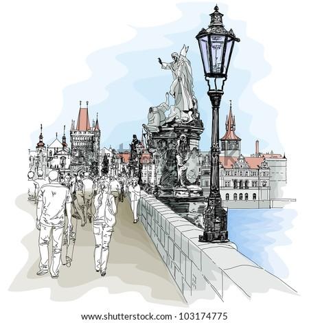 Charles Bridge - Prague, Czech Republic - a vector sketch - stock vector
