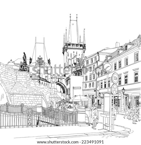 Charles Bridge - Prague, Czech Republic. Vector drawing - stock vector