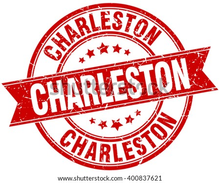 Charleston red round grunge vintage ribbon stamp