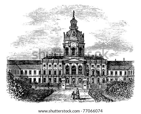 Charlottenburg Royal Palace, in Berlin, Germany, during the 1890s, vintage engraving. Old engraved illustration of Charlottenburg Palace. Trousset Encyclopedia - stock vector