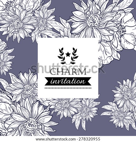 Charm collection. Vintage invitation card of beautiful flowers. Easy to edit. Perfect for invitations or announcements.