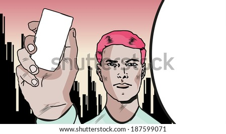 Charming and handsome man. I'll Show You Something Special. Comics Man witn card or mobile phone silhouette in hand - stock vector