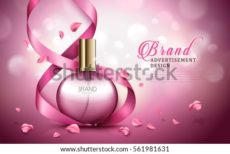 charming aroma perfume ad, contained in round pink bottles, valentine's day special dark pink background