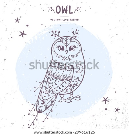 Charming fairy owl. Stylish card with doodle character owl. Vector illustration - stock vector