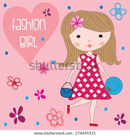 charming little girl with hat and bag and flowers vector illustration - stock vector