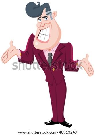 Charming man presenting - stock vector