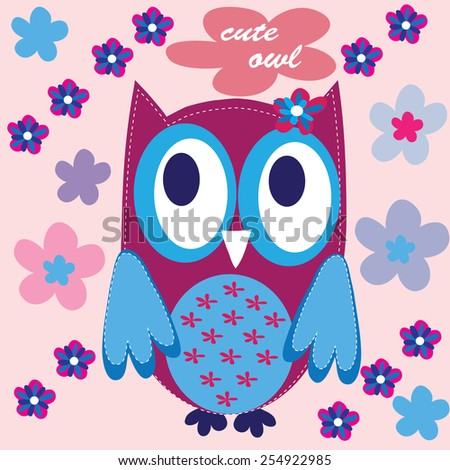 charming owl with flowers vector illustration - stock vector