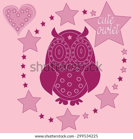 charming wine red owlet with stars and hearts vector illustration - stock vector
