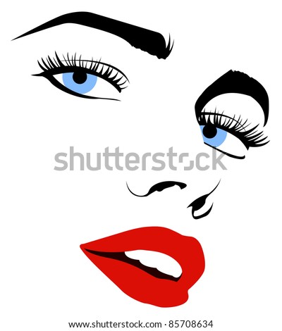 Charming woman face - stock vector
