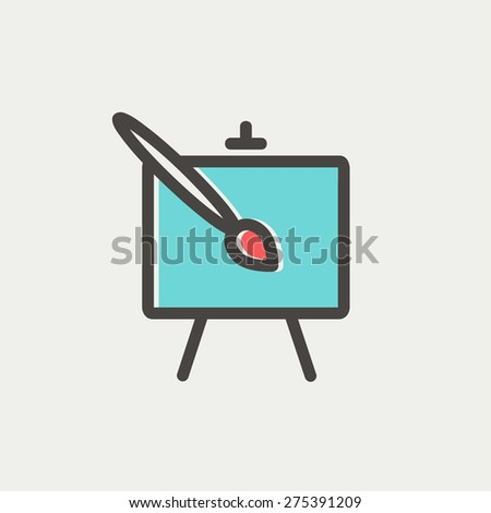 Chart and a paint brush icon thin line for web and mobile, modern minimalistic flat design. Vector icon with dark grey outline and offset colour on light grey background. - stock vector