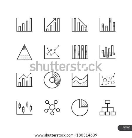 Chart and Graph Icons set - Vector illustration - stock vector