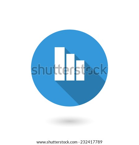 Chart bar icon. Vector illustration of flat blue color icon with long shadow - stock vector