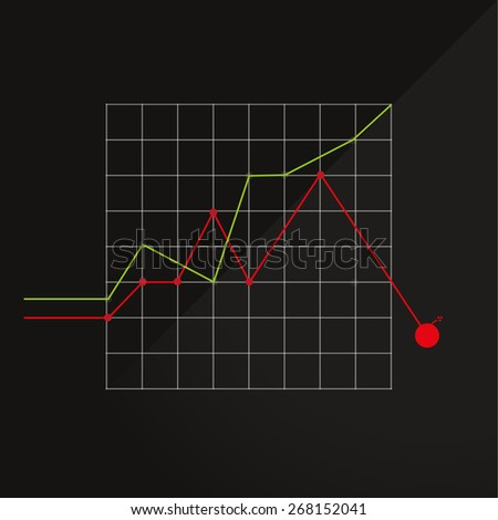 chart down bomb - stock vector