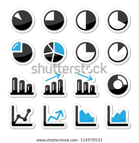 Chart graph black and blue icons as labels - stock vector