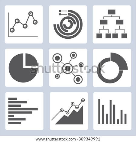 chart, graph, data analytics icons - stock vector