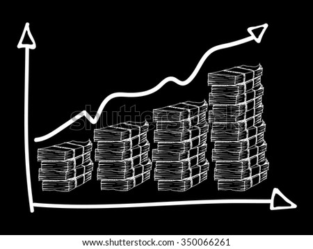 Chart, graph, table with money on black background. Free hand drawn. Vector illustration. - stock vector