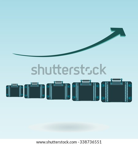 Chart growth Graph, suitcases for travel. The increase in the number of tourists traveling. Tourism investments. - stock vector