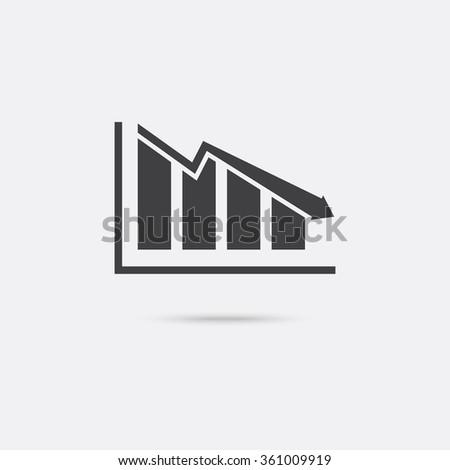 Chart icon. Decline graph symbol. - stock vector
