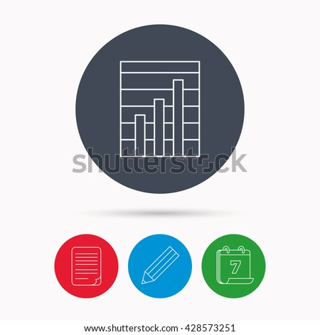 Chart icon. Graph diagram sign. Demand growth symbol. Calendar, pencil or edit and document file signs. Vector - stock vector